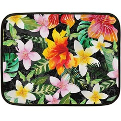 Tropical Flowers Butterflies 1 Double Sided Fleece Blanket (mini)  by EDDArt
