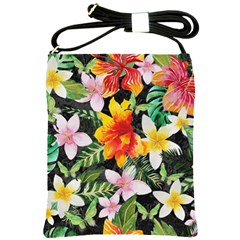 Tropical Flowers Butterflies 1 Shoulder Sling Bags by EDDArt