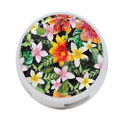 Tropical Flowers Butterflies 1 4 Port Usb Hub (one Side) by EDDArt