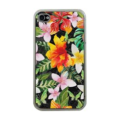 Tropical Flowers Butterflies 1 Apple Iphone 4 Case (clear) by EDDArt