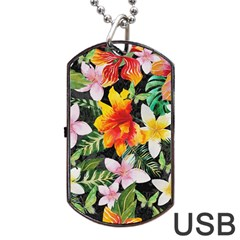 Tropical Flowers Butterflies 1 Dog Tag Usb Flash (two Sides) by EDDArt