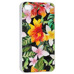Tropical Flowers Butterflies 1 Apple Iphone 4/4s Seamless Case (white) by EDDArt