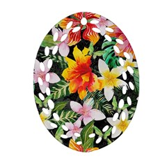 Tropical Flowers Butterflies 1 Oval Filigree Ornament (two Sides) by EDDArt