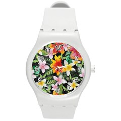 Tropical Flowers Butterflies 1 Round Plastic Sport Watch (m) by EDDArt
