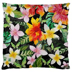 Tropical Flowers Butterflies 1 Large Cushion Case (one Side) by EDDArt