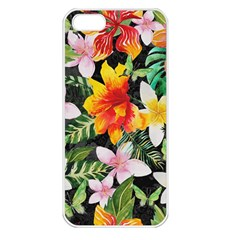 Tropical Flowers Butterflies 1 Apple Iphone 5 Seamless Case (white) by EDDArt
