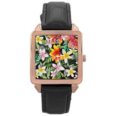 Tropical Flowers Butterflies 1 Rose Gold Leather Watch  by EDDArt