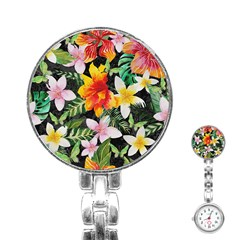 Tropical Flowers Butterflies 1 Stainless Steel Nurses Watch by EDDArt