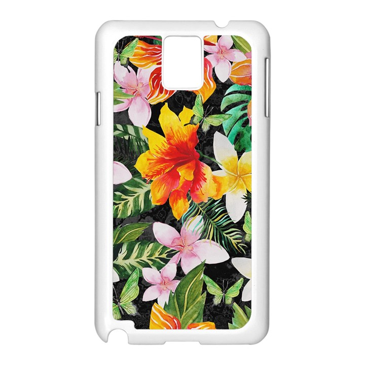 Tropical Flowers Butterflies 1 Samsung Galaxy Note 3 N9005 Case (White)