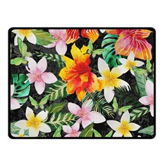 Tropical Flowers Butterflies 1 Double Sided Fleece Blanket (small)  by EDDArt