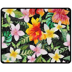 Tropical Flowers Butterflies 1 Double Sided Fleece Blanket (medium)  by EDDArt