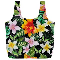 Tropical Flowers Butterflies 1 Full Print Recycle Bags (l)  by EDDArt