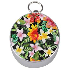 Tropical Flowers Butterflies 1 Silver Compasses by EDDArt