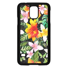Tropical Flowers Butterflies 1 Samsung Galaxy S5 Case (black) by EDDArt