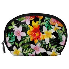 Tropical Flowers Butterflies 1 Accessory Pouches (large)  by EDDArt
