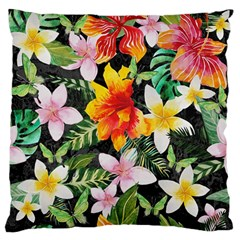 Tropical Flowers Butterflies 1 Standard Flano Cushion Case (two Sides) by EDDArt