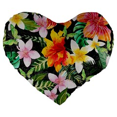 Tropical Flowers Butterflies 1 Large 19  Premium Flano Heart Shape Cushions by EDDArt