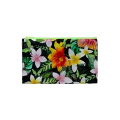 Tropical Flowers Butterflies 1 Cosmetic Bag (xs) by EDDArt