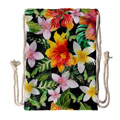 Tropical Flowers Butterflies 1 Drawstring Bag (large) by EDDArt