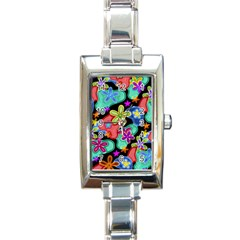 Colorful Retro Flowers Fractalius Pattern 1 Rectangle Italian Charm Watch by EDDArt