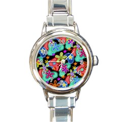 Colorful Retro Flowers Fractalius Pattern 1 Round Italian Charm Watch by EDDArt
