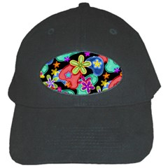 Colorful Retro Flowers Fractalius Pattern 1 Black Cap by EDDArt