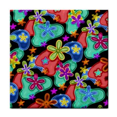 Colorful Retro Flowers Fractalius Pattern 1 Tile Coasters by EDDArt
