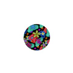 Colorful Retro Flowers Fractalius Pattern 1 1  Mini Buttons by EDDArt
