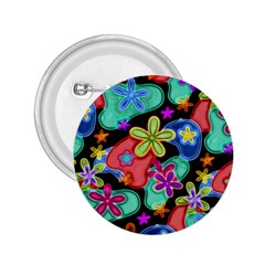 Colorful Retro Flowers Fractalius Pattern 1 2 25  Buttons by EDDArt