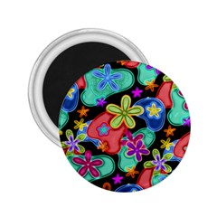 Colorful Retro Flowers Fractalius Pattern 1 2 25  Magnets by EDDArt