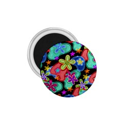 Colorful Retro Flowers Fractalius Pattern 1 1 75  Magnets by EDDArt