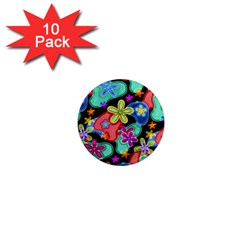 Colorful Retro Flowers Fractalius Pattern 1 1  Mini Magnet (10 Pack)  by EDDArt