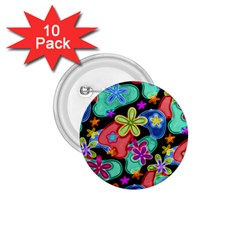 Colorful Retro Flowers Fractalius Pattern 1 1 75  Buttons (10 Pack) by EDDArt