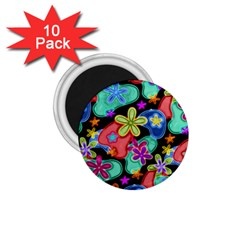 Colorful Retro Flowers Fractalius Pattern 1 1 75  Magnets (10 Pack)  by EDDArt