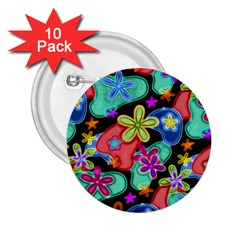 Colorful Retro Flowers Fractalius Pattern 1 2 25  Buttons (10 Pack)  by EDDArt