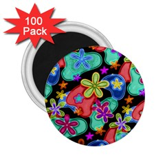 Colorful Retro Flowers Fractalius Pattern 1 2 25  Magnets (100 Pack)  by EDDArt