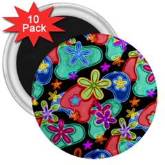 Colorful Retro Flowers Fractalius Pattern 1 3  Magnets (10 Pack)  by EDDArt