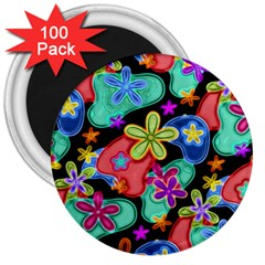 Colorful Retro Flowers Fractalius Pattern 1 3  Magnets (100 Pack) by EDDArt