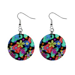 Colorful Retro Flowers Fractalius Pattern 1 Mini Button Earrings by EDDArt