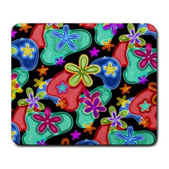 Colorful Retro Flowers Fractalius Pattern 1 Large Mousepads by EDDArt