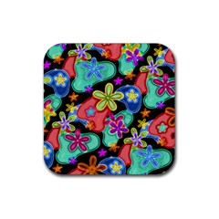 Colorful Retro Flowers Fractalius Pattern 1 Rubber Coaster (square)  by EDDArt