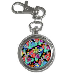 Colorful Retro Flowers Fractalius Pattern 1 Key Chain Watches by EDDArt