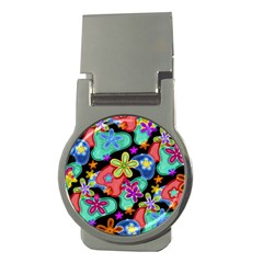 Colorful Retro Flowers Fractalius Pattern 1 Money Clips (round)  by EDDArt
