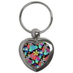 Colorful Retro Flowers Fractalius Pattern 1 Key Chains (heart)  by EDDArt