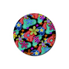 Colorful Retro Flowers Fractalius Pattern 1 Rubber Coaster (round)  by EDDArt