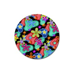 Colorful Retro Flowers Fractalius Pattern 1 Magnet 3  (round) by EDDArt