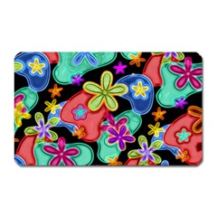 Colorful Retro Flowers Fractalius Pattern 1 Magnet (rectangular) by EDDArt