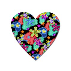 Colorful Retro Flowers Fractalius Pattern 1 Heart Magnet by EDDArt