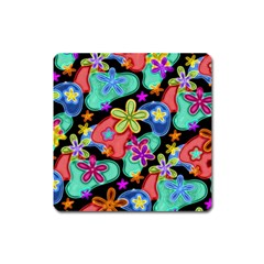 Colorful Retro Flowers Fractalius Pattern 1 Square Magnet by EDDArt