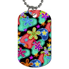 Colorful Retro Flowers Fractalius Pattern 1 Dog Tag (one Side) by EDDArt